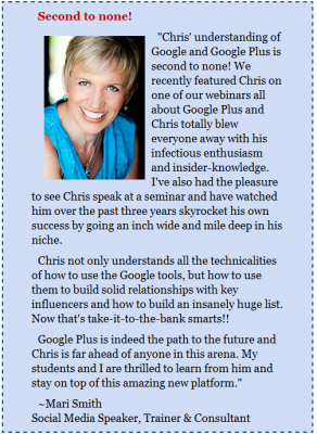 Mari Smith learns about Google Plus from Chris Lang