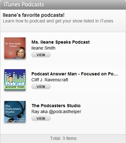 iTunes Pocasting Widget