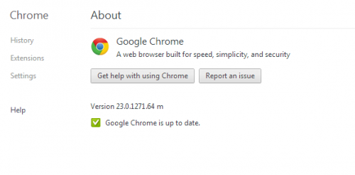 Google Chrome version 23