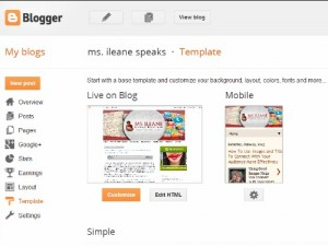 Blogger screenshot