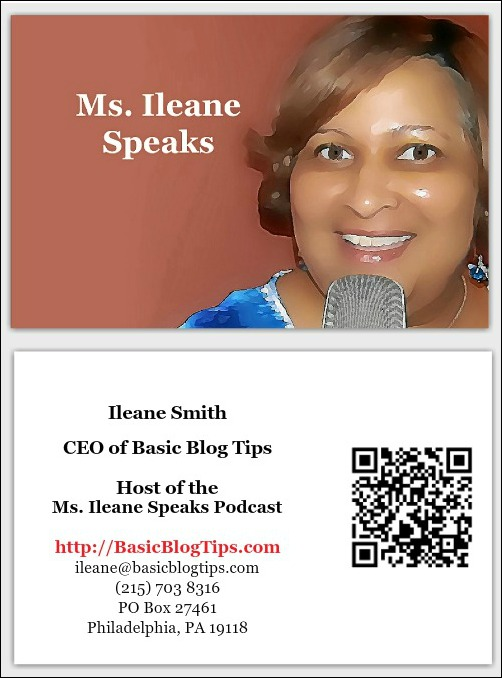 Ms. Ileane Speaks Business Card