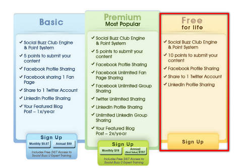 Pricing for Social Buzz Club