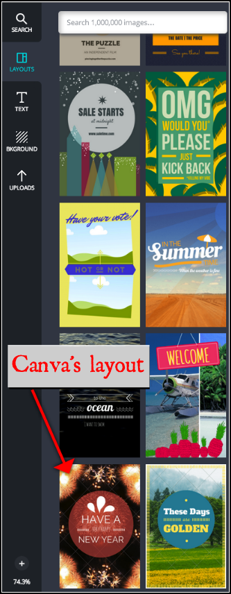 Suggested Layouts in Canva